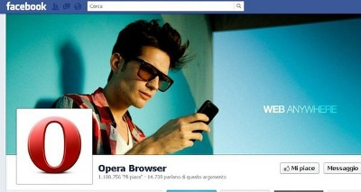 Pagina Facebook di Opera Software
